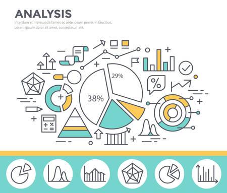 data line: Business graph statistics, data analysis, financial report, market stats concept illustration, thin line flat design Illustration