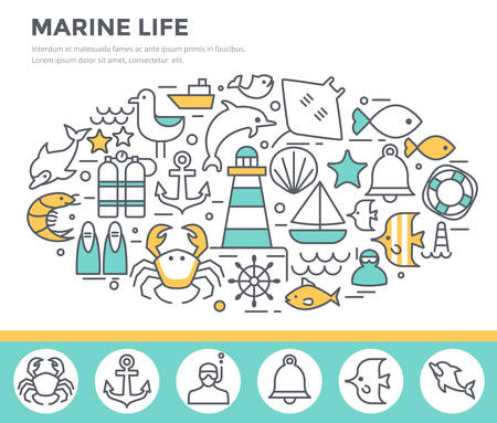 lifebelt: Marine life concept illustration, thin line flat design