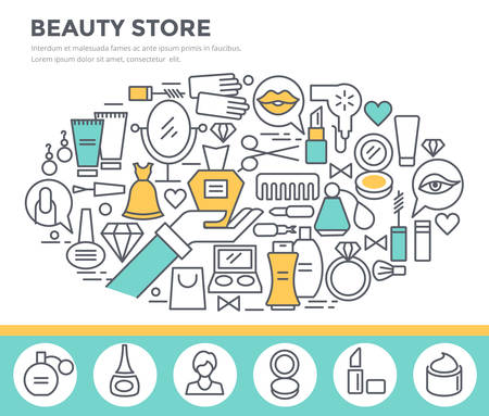 brash: Beauty and shopping concept illustration, thin line flat design