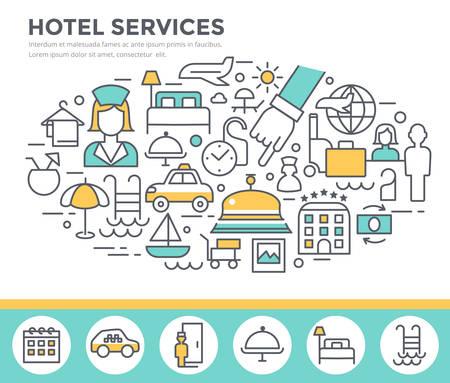 doorkeeper: Hotel services concept illustration, thin line flat design vector