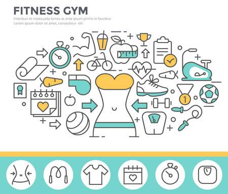 Fitness concept illustratie, dunne lijn plat ontwerp