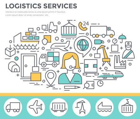 Logistic services concept illustration, thin line flat design Stock Illustratie
