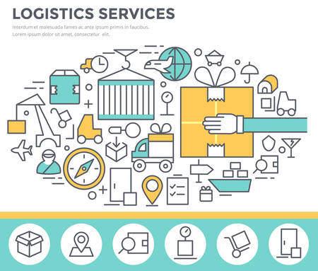 importer: Logistics services and delivery concept illustration thin line flat design