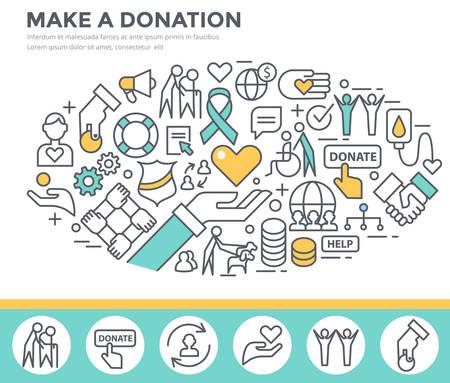 Donation and volunteer work concept illustration, thin line flat design