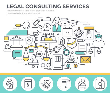 barrister: Legal consulting services concept illustration, thin line flat design
