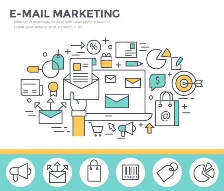 mail marketing: Mail marketing concept illustration, thin line flat design
