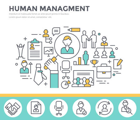 Gestion des ressources humaines, le renforcement de l'équipe et de la formation de l'entreprise concept illustration, mince ligne design plat