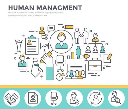 Gestione delle risorse umane, team building e formazione business concetto illustrazione, design piatto linea sottile
