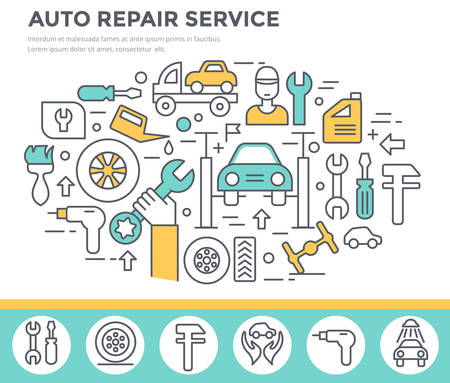 breakage: Auto repair service concept illustration thin line flat design