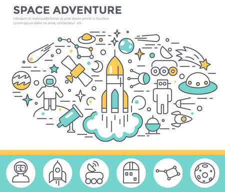 Space concept illustration, thin line flat design Illustration