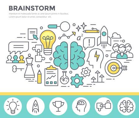 mentally: Brainstorm concept illustration, thin line flat design