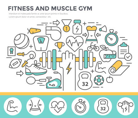fitness gym: Fitness and muscle gym concept illustration, thin line flat design Illustration