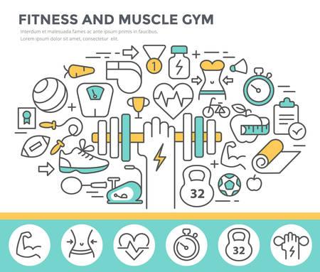 forme et sante: Fitness et muscle concept gym illustration, mince ligne design plat