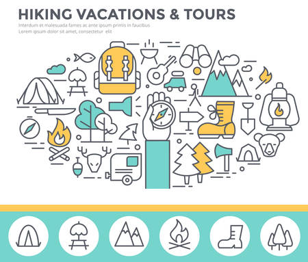 hiking: Hiking vacation concept illustration, thin line, flat design