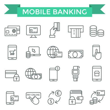 Mobiel bankieren iconen, dunne lijn, platte ontwerp