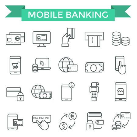 Mobile banking icons, thin line, flat design