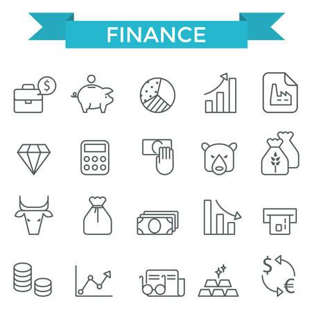 trades: Finance icons, thin line, flat design Illustration