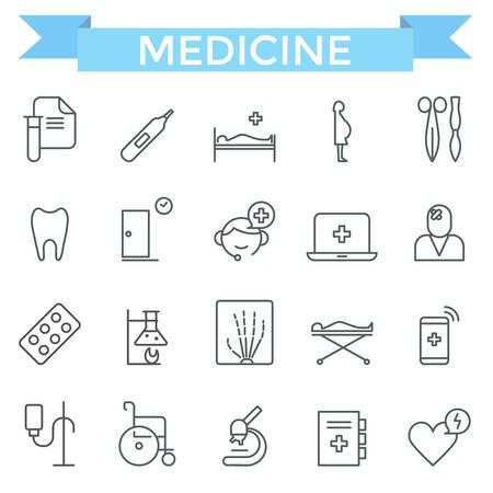 evacuation equipment: Medical icons, thin line, flat design Illustration
