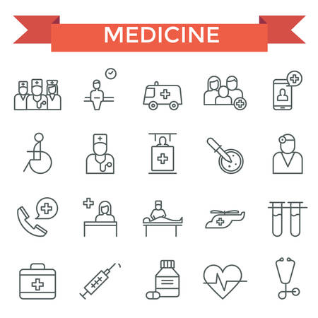 car care center: Medical icons, thin line, flat design Illustration