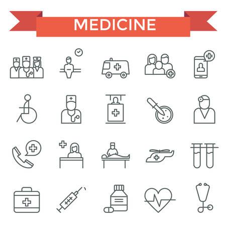 Medische iconen, dunne lijn, vlak ontwerp
