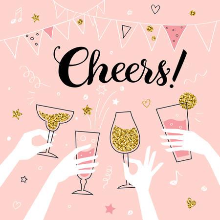 """Szampan koncepcji zaproszenia na przyjęcie koktajlowe, ręce przyjaciół z napojami alkoholowymi, które sprawiają, że toast ilustracji wektorowych, """"Cheers!"""" tytuł"""