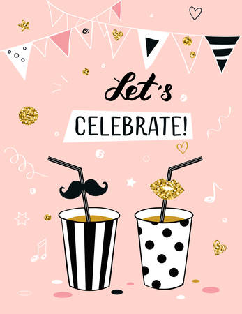 lets party: Invitation background on party time with Lets celebrate! title