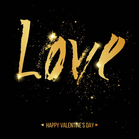 grunge backgrounds: Valentines Day card with golden freehand letters love, vector illustration Illustration