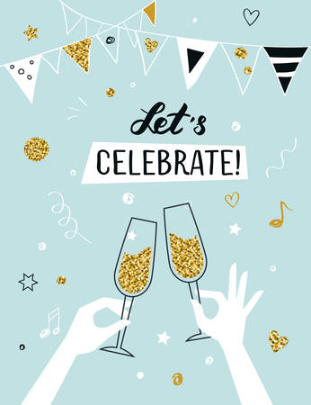 Party invitation background raised hands holding champagne glasses, vector illustration Vectores