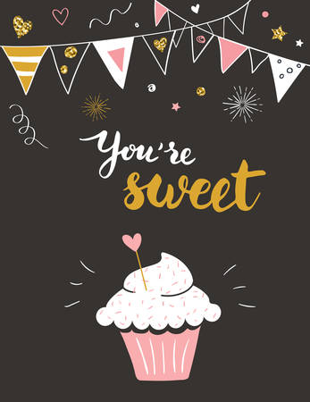 postcard: Valentine day card with cupcake and You are sweet title