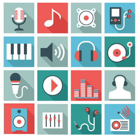 listener: Audio video equipment icons Illustration