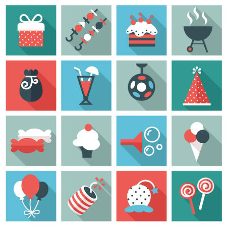 happy holidays: Party icons Illustration