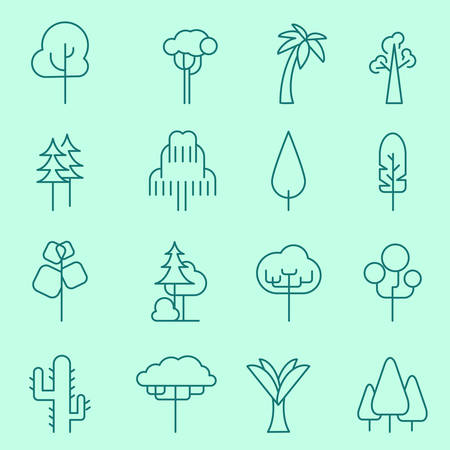 Trees icons, thin line, flat design