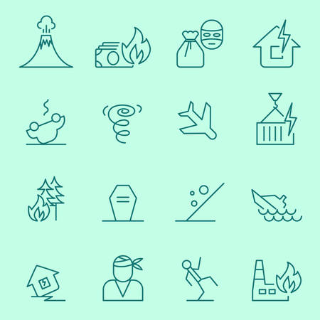 Insurance events and natural disasters icons, thin line flat design