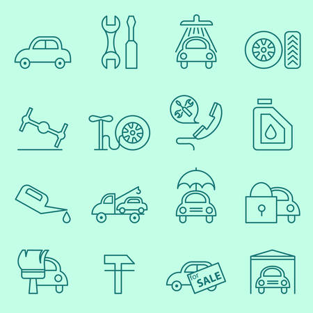 spare: Car service icons, thin line design Illustration