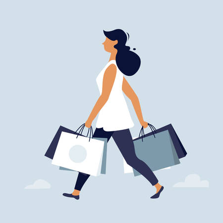 Woman walking with shopping bags. Big Sale poster, flat character design, vector illustration