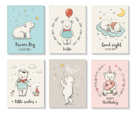 Cute cards with little bear, vector characters set, posters for baby room, baby shower, greeting card, kids and baby t-shirts and wear. Hand drawn nursery illustration.