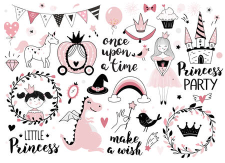 Princess design elements - calligraphy, fantasy icons, wreaths, crowns, castle,  and other. Perfect for invitation, greeting card, kids and baby t-shirts and wear, nursery poster, sticker kit