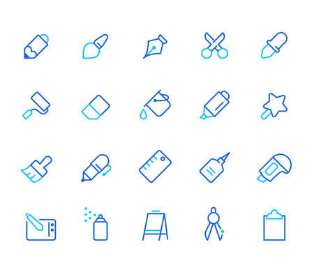 Stationary icons, simple line set