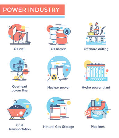 Power industry concept icons, thin line, flat design