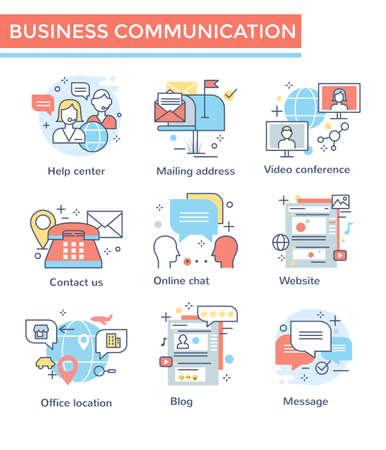 Business communication icons, thin line, flat design, color set 矢量图像