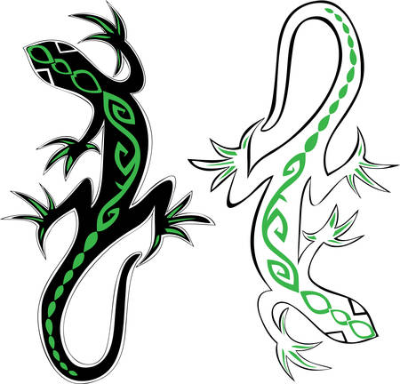 decorative lizards reptiles with long curved tails decorated geometric ornament suitable for tattoo, icon or mascot design