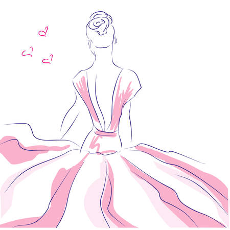 Fashion girl in beautiful dress. Art sketched beautiful girl in pink dress with hearts, background with space for text.