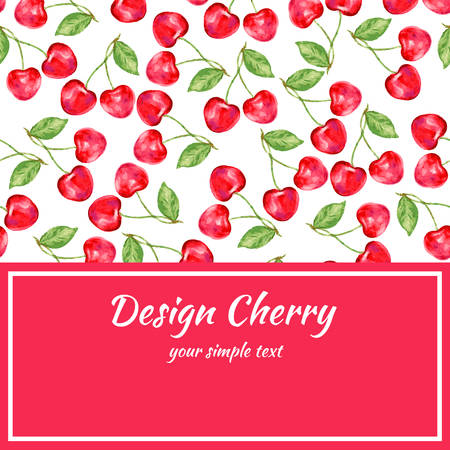package design: cherry collection. Paper label and seamless patterns. Perfect for wallpaper, wrapping paper, textile, cosmetics and package design.