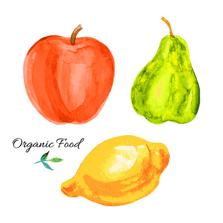 Pear, apple, lemon watercolor illustration on white background Illusztráció