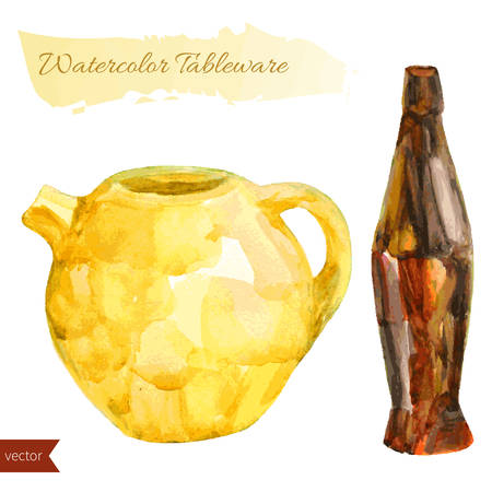 Watercolor yellow teapot and brown bottle isolated on white background.