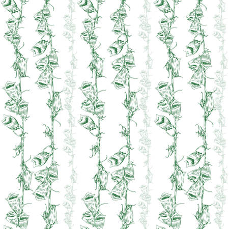 wild flower: Seamless pattern wild flower meadow hand drawn ink sketch isolated on white, Vintage elegant style, The thin smooth lines, Template for wallpaper, textiles, package design, cosmetics