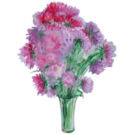 chrysanthemum flower in vase, watercolor illustration isolated on white background for web, card, invitation Vetores