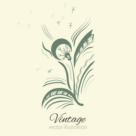 snort: Dandelion graphic illustration isolated on background with space for text, illustration for wallpaper, wrapping paper, textile, cosmetics, package design, medicine, natural organic product Illustration
