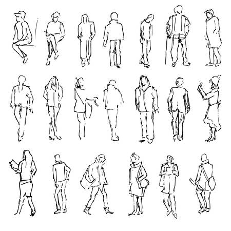 silhouette contour: Silhouettes of walking people, carrying bags, talking on the phone etc, Hand drawn vector engraved sketch illustration isolated on white background line art vintage style for design printing, web site Illustration