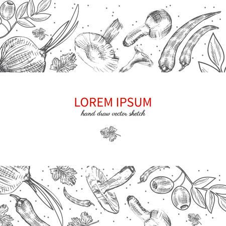 food industry: Hand drawn sketch vegetables, Vector illustration mushrooms, olive, pepper, onion isolated on white, for design in organic food industry, healthy green food market, vegetarian restaurant menu, harvest